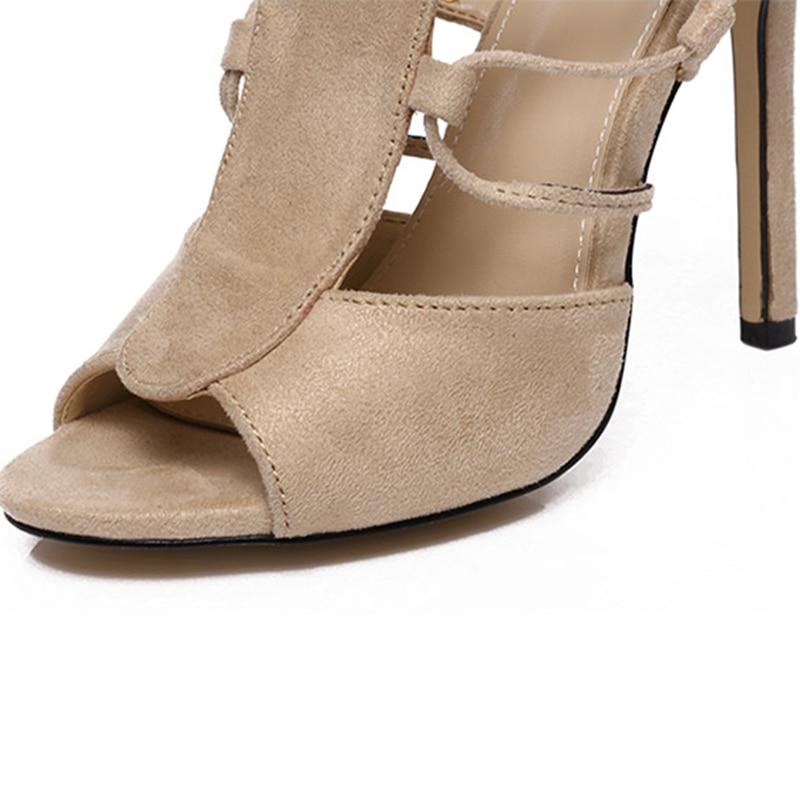 a1052a58c Hueco Gladiador Zapatos San Altos Moda Tacones De caqui Lujo Señora  Diseñador Scarpins Sexy Mujeres 2019 Sandalias ...