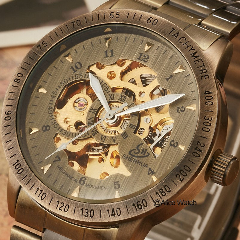 c6aeb7cc1e9 Acero inoxidable antiguo mecánico automático hombres reloj de marca de lujo  transparente para hombre esqueleto relojes regalos Relogio Masculino en  Relojes ...