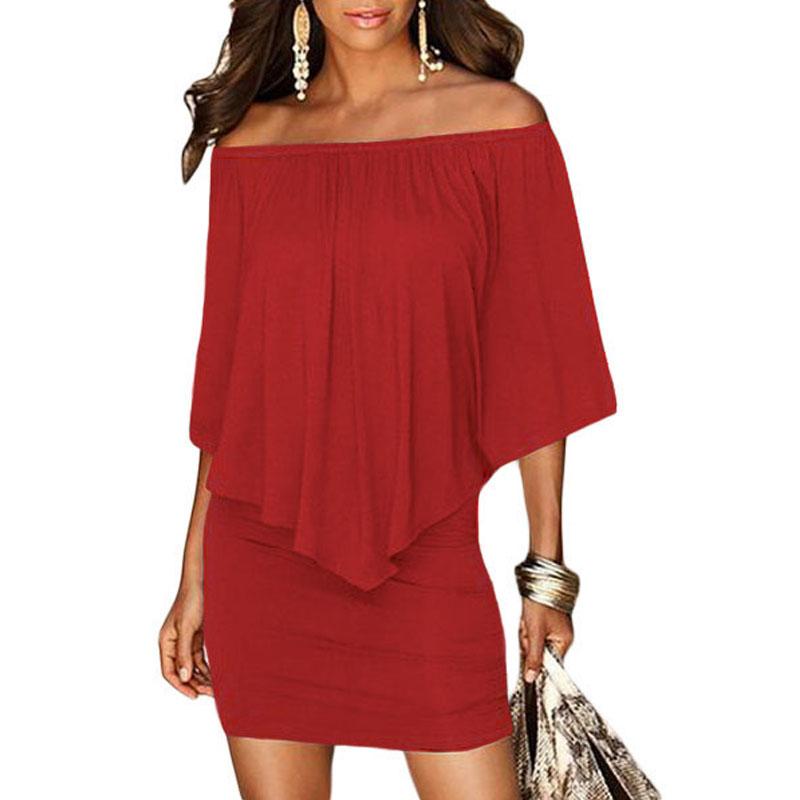 17 Women Plus Size Layered Dress Red Off Shoulder Femme Sexy Autumn Dresses Large Big Size Women Casual Mini Dress XXXL XXL 9
