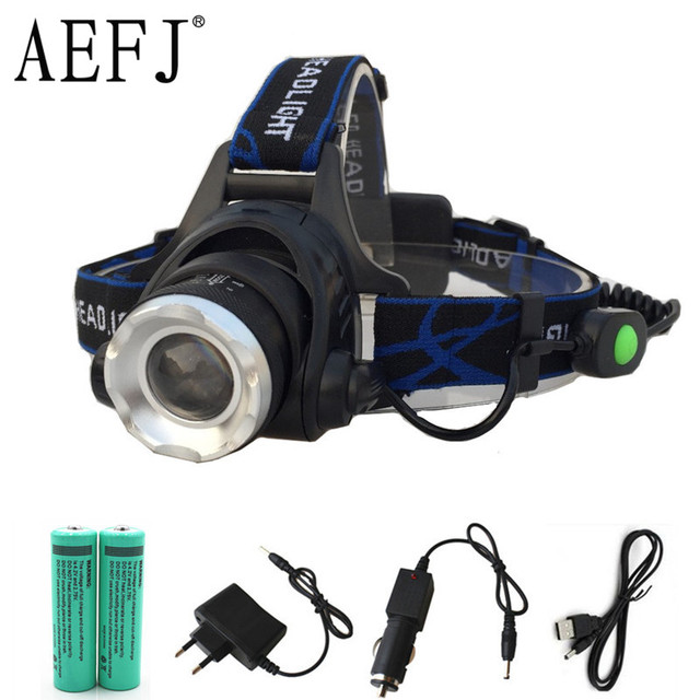 Waterproof 10W T6 LED Headlight Head Lamp Flashlight Zoomable 18650 USB Charging