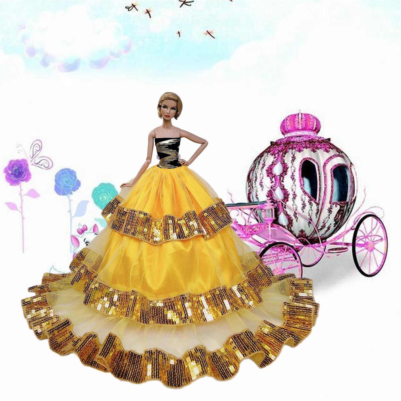 Besegad Mini Menina Boneca 3 Camada Saia Grande Ouro Contas Vestidos De Casamento Da Princesa Vestido de Noite Roupas Acessórios para Barbie Brinquedo