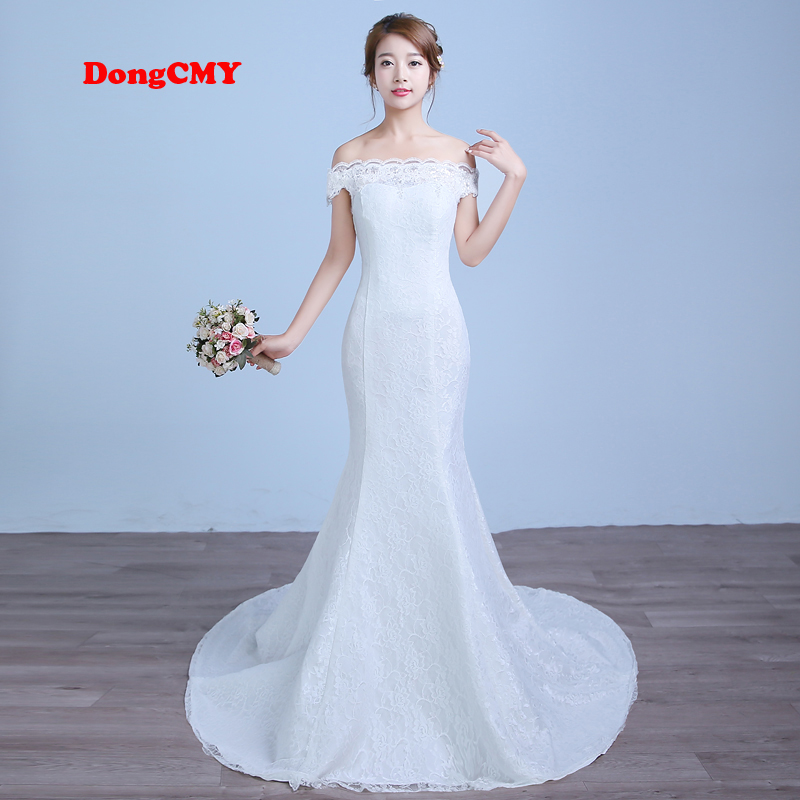 DongCMY 2019 new arrival long white color Mermaid bandage wedding dress vestido de noiva Bridal  Gown