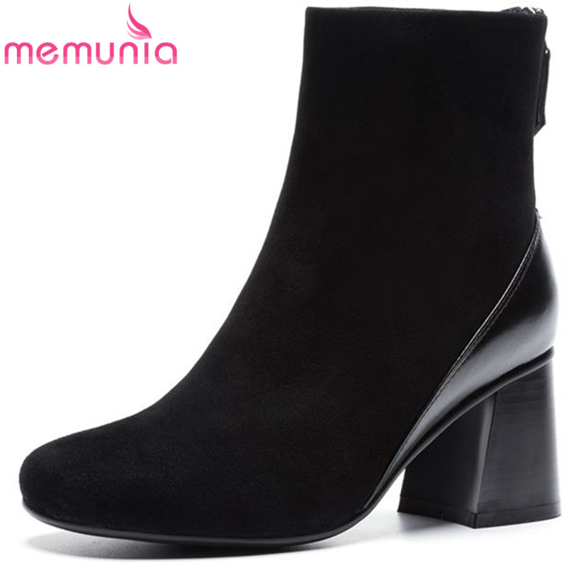 MEMUNIA hot sale suede+genuine leather boots fashion square toe ankle boots for women zipper autumn winter boots women shoes цена