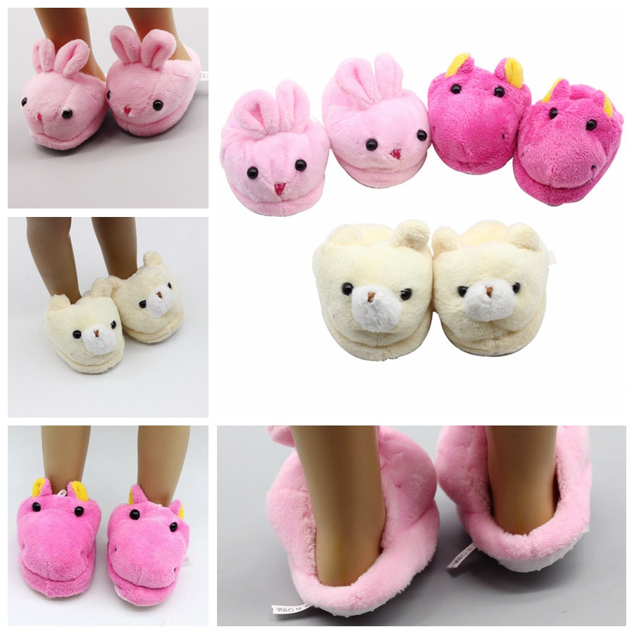 Cute Plush Doll Slipper Rabbit Slippers For 18inch Gril Doll 43cm Baby Doll Rabbit Shoes Suit 1/3 BJD Doll Accessories