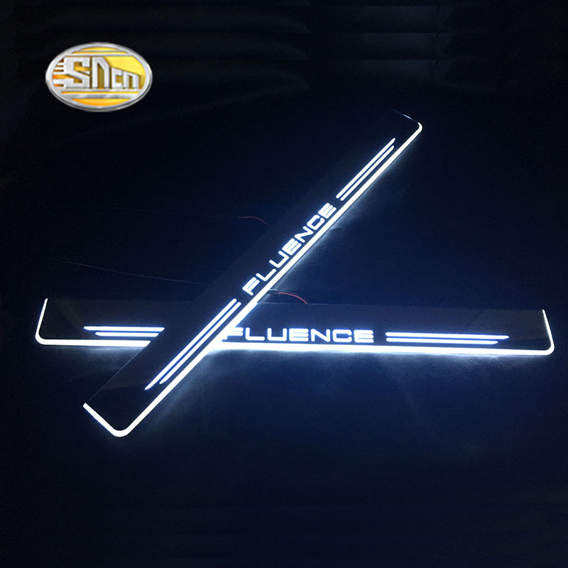 SNCN LED moving light scuff pedal for Renault Fluence car acrylic led door sill welcome