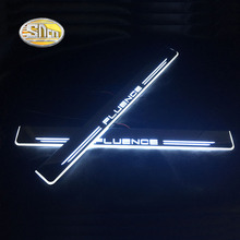 цена на SNCN LED moving light scuff pedal for Renault Fluence car acrylic led door sill welcome pedal