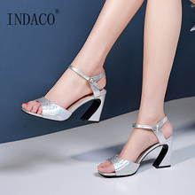 Women Sandals New Arrival Fish Mouth Color Cowhide High Heel Summer Thick Shoes