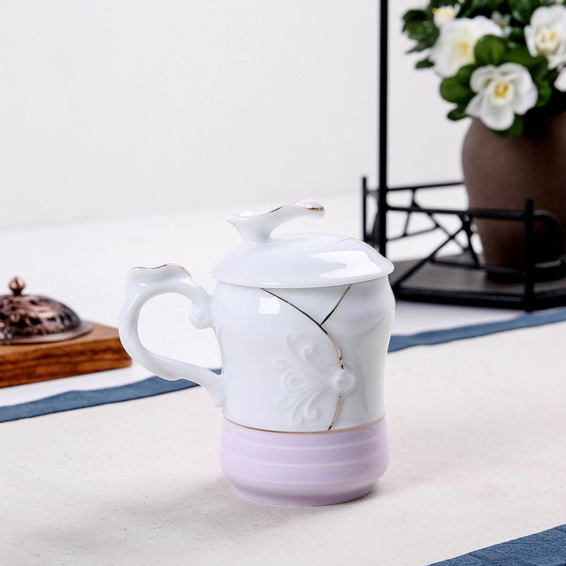 260mll style japonais en céramique bleu violet couleur amoureux tasse Kit maison petit déjeuner lait café tasse or jante Drinkware thé tasses cadeaux - 3