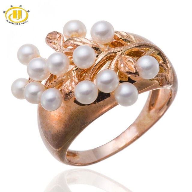 df1e27dd0 Hutang Freshwater Cultured Pearl Solid 925 Sterling Silver Ring Fine Jewelry  For Women