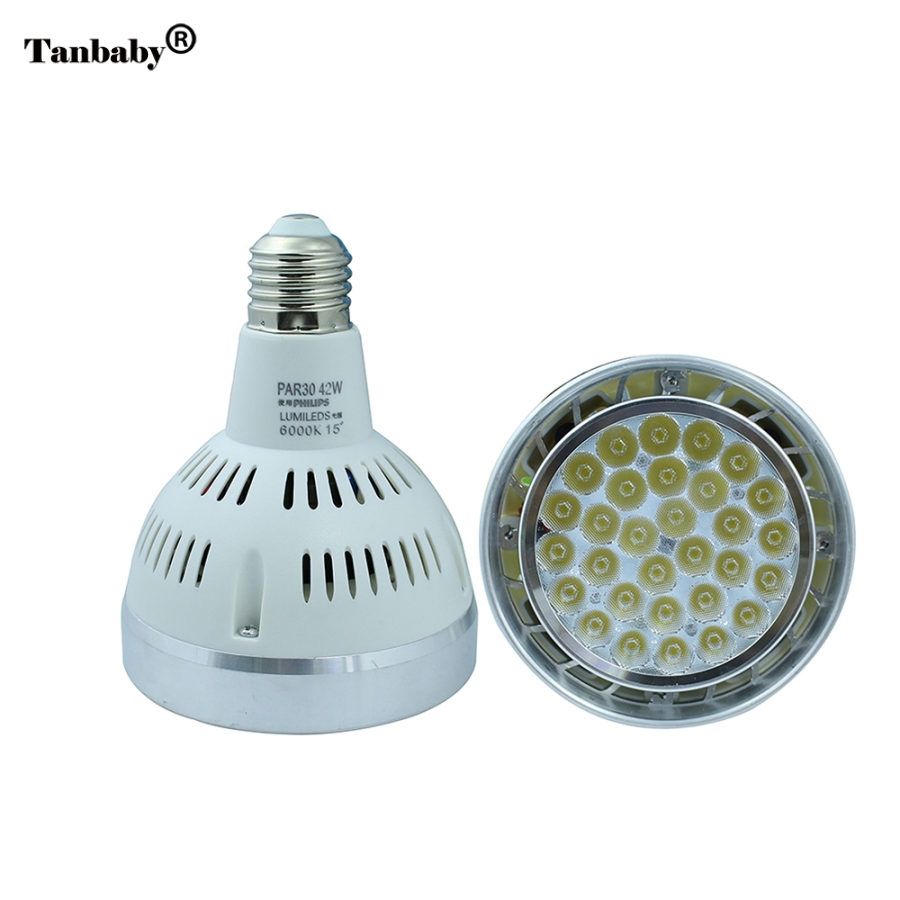 Tanbaby Led Lamp E27 Spotlight Par30 42W LED Lamp Bulb light fan inside AC220V Led Lighting Warm/Cool/White For Home lighting warranty 2 years e27 par30 30w led bulbs light no dimmable110v 220v warm cool white led spotights
