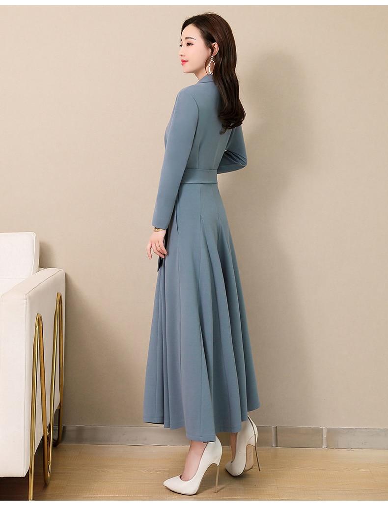 Spring and Autumn 2019 New Women's Dresses Korean Edition Long Sleeve Dresses Overlap Long Popular Temperament with Bottom 122