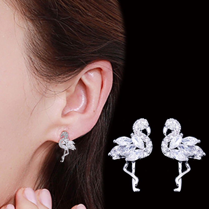 Korean Flamingo Stud Earrings Cubic Zirconia For Women