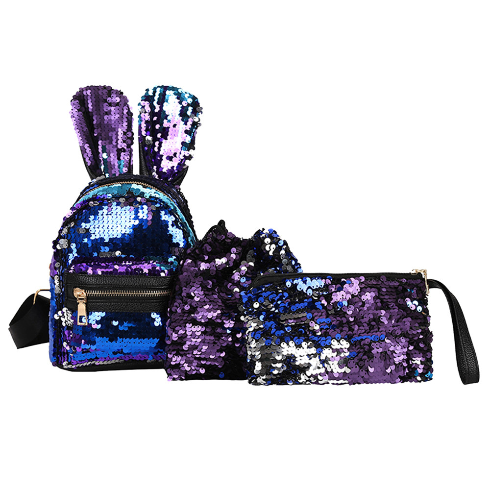 3PcsSet Small Women Backpacks female 2018 School Bags For Teenage Girls PU Leather Women Backpack Sequins Shoulder Bag Purse