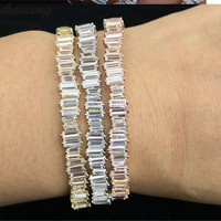 choucong 3 colors Baguette bangle cuff 5A cubic zirconia White Gold Filled Party bracelets Bangles for women wedding accessaries