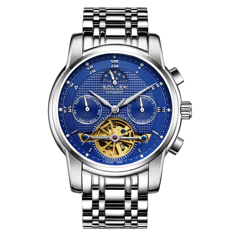 Business Watches For Men Stainless Steel Tourbillon Automatic Metal Watch Black/Blue/Silver Color Top Quality Gift finger rock blue enchantress simulation flower assembly model 3d metal puzzle never fade red rose stainless steel jigsaw gift