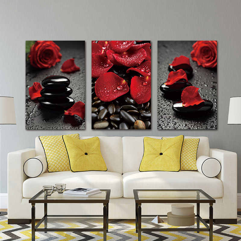Wall Art Foto Canvas Schilderij Prints Bloem Red Rose op canvas decor Art Modulaire Foto Woonkamer geen frame