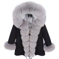2018 casual women coat long parkas real fox fur collar hooded placket cuffs winter down jacket female outerwear luxury