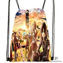 Custom Asada and Kirito Sword Drawstring Backpack Bag Cute Daypack Kids Satchel (Black Back) 31x40cm#180531-03-67