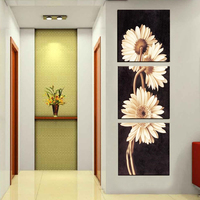 Abstract Oil Painting Pure Handpainted on Canvas chrysanthemum flowers Handmade Modern wall art for Entrance 3pcs Oil Painting
