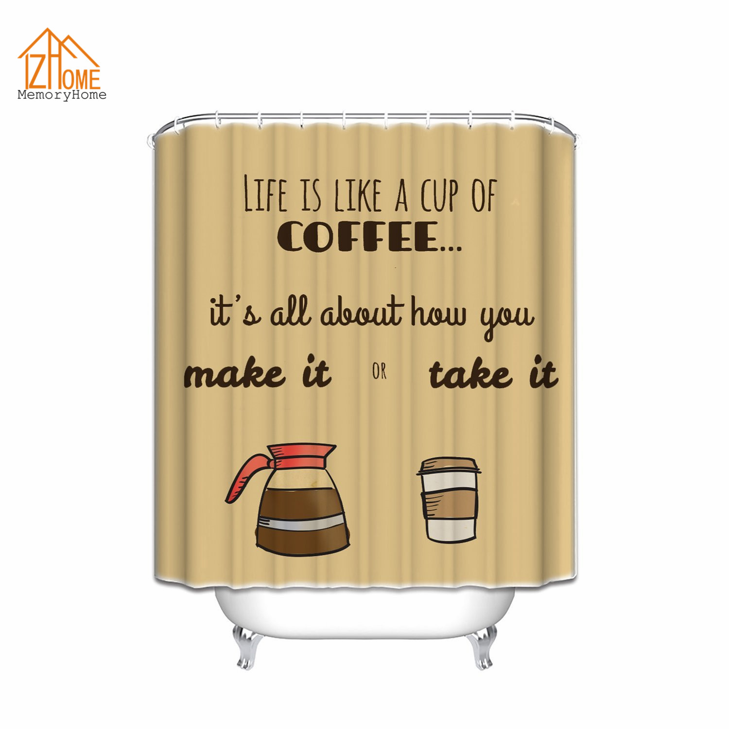 memory home 2017 custom bath curtain life is like a cup of coffee make it or take it funny. Black Bedroom Furniture Sets. Home Design Ideas