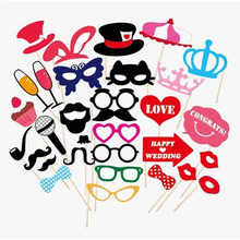 31 pcs/ set Wedding Photo Booth Props Party Decorations Supplies Mask Mustache For Fun Favors Photobooth Photocall