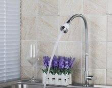 Chrome Кухня поворотные смесители новый бренд латунь водопроводной воды сосуд Раковина Смесители горячей и холодной смесители и краны