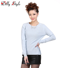 High Quality Cashmere Sweater Women Sweater and Pullovers Women Fashion O-Neck Solid Color Long Sleeve Knitted Sweater -A921