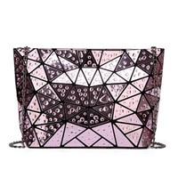 2018 New Famous Brand Women Bag High Quality Geometric Handbags Plaid Chain Shoulder Crossbody Bags Laser