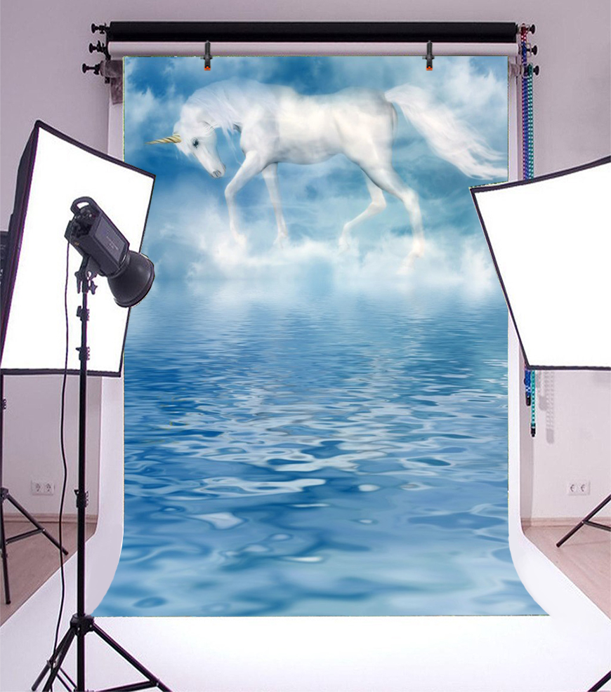 Laeacco Dreamy Unicorn Party Lake Surface Scene Baby Photography Backgrounds Customized Photographic Backdrops For Photo Studio