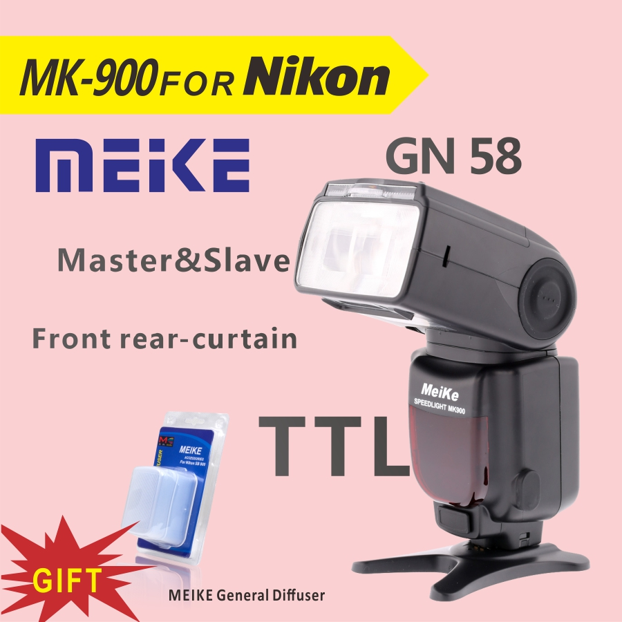 MEKE Meike MK 900 TTL Camera Flash Speedlite for Nikon SB 900 D7100 D7000 D5100 D5200 D5000 D800 D600 D90 D80+Diffuser meike mk d750 battery grip pack for nikon d750 dslr camera replacement mb d16 as en el15 battery
