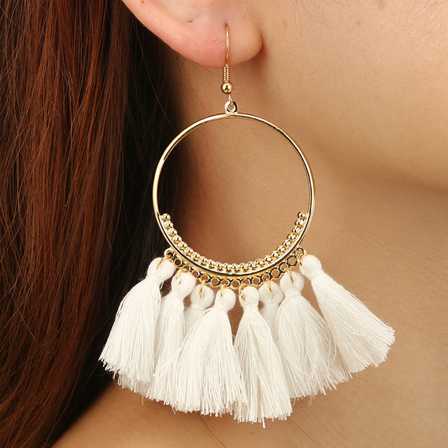 HOCOLE 2018 Ethnic Bohemia Drop Dangle Long Rope Fringe Cotton Tassel Earrings T