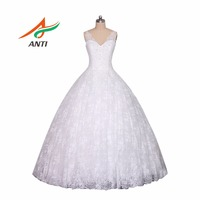 ANTI 2017 Robe De Mariage Princess Lace Bling Bling Luxury Crystals White Ball Gown Wedding Dress