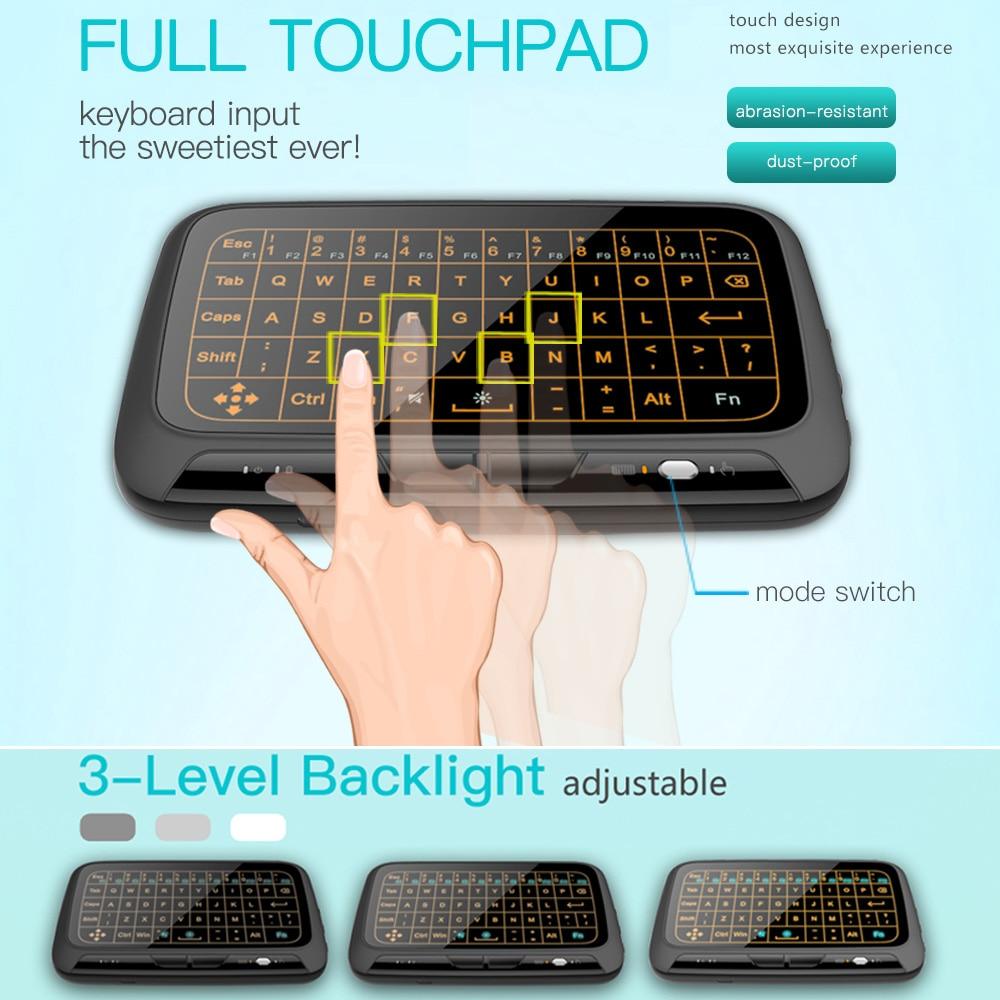 10 Stücke H18 + Air Maus 2,4 Ghz Mini Wireless Qwerty Tastatur Full Touchpad Großen Touch Pad Fernbedienung Für Android Tv Box Pc