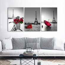 Gray Black Landscape Poster Prints Modern City Tower Canvas Painting On The Wall Red Rose Umbrella&Bike Art Picture For Bedroom(China)
