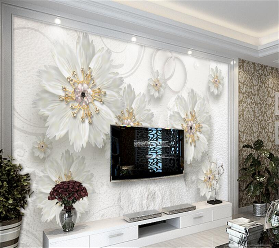 design of atmospheric living room tv background wall   Beibehang Custom Wallpaper Relief Flower Atmosphere ...