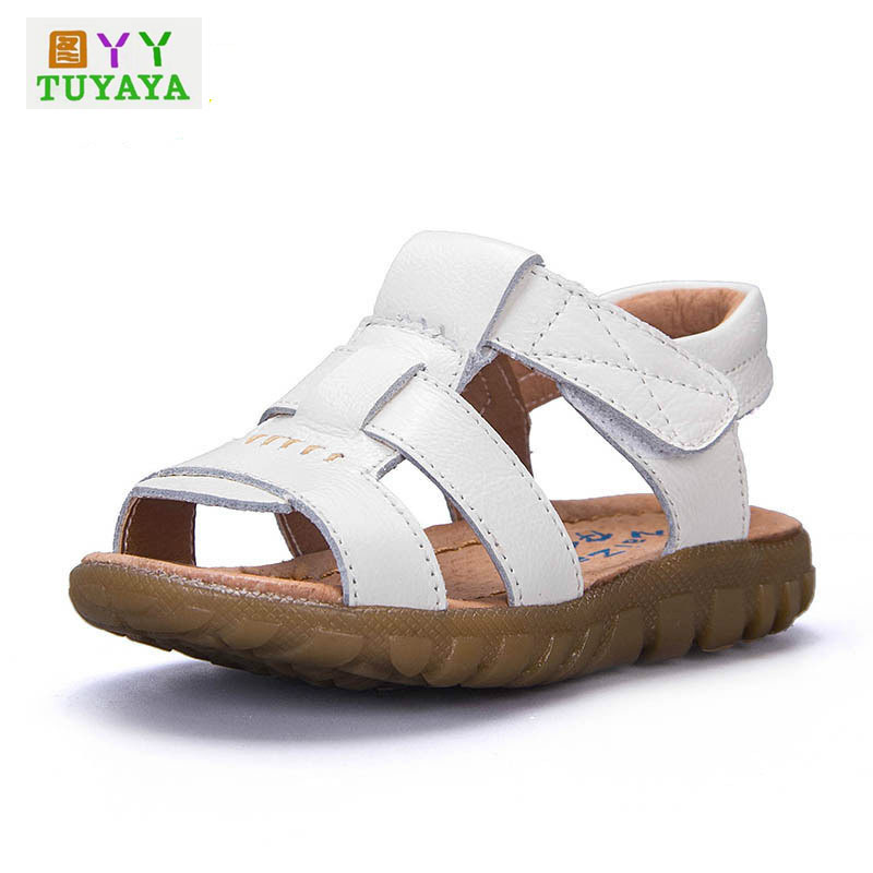 2016 Fashion Boys Girls Soft Sandals Geniune Leather Shoes Summer Beach Sandals for Kids 3 Colors Children Casual Shoes 21-36