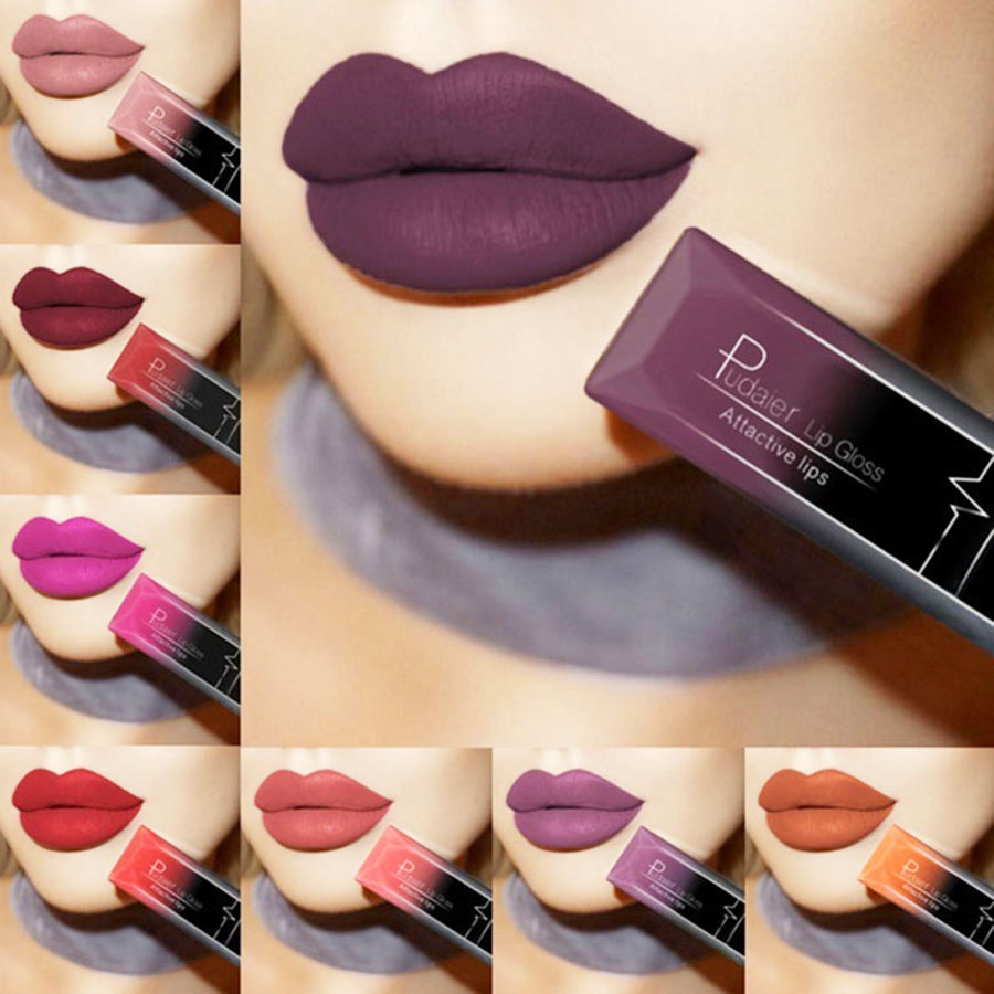 Waterproof Nude Matte Velvet Glossy Lip Gloss Lipstick Lip Balm Sexy Red Lip Tint 21 Colors Women Fashion Makeup Gift PUDAIER