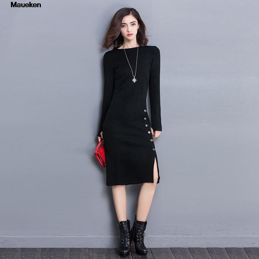 Bodycon Office Winter Dress Plus Size XXXL Split Knitted Sweater Dress Long Sleeve 2018 Autumn Casual Womens Dresses vestidos