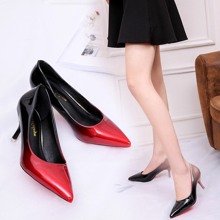 ФОТО  leather fine with high-heeled shoes and fashion shoes a shallow mouth banquet set foot elegant and sexy shoes
