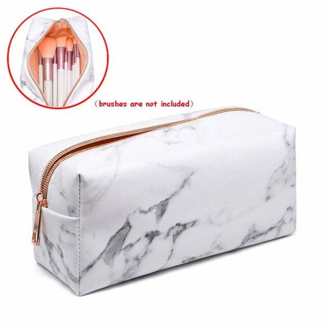 Beauty Pattern Cosmetic Make Up Brushes Bag Portable Brushes Holder Marble Case Brush Bag Zipper Cosmetic Bag Makeup Tool 1 PCS