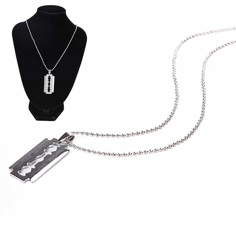Cool Razor Blades Pendant Necklaces Men Jewelry Steel Male Shaver Shape Necklaces & Pendants Free Chain