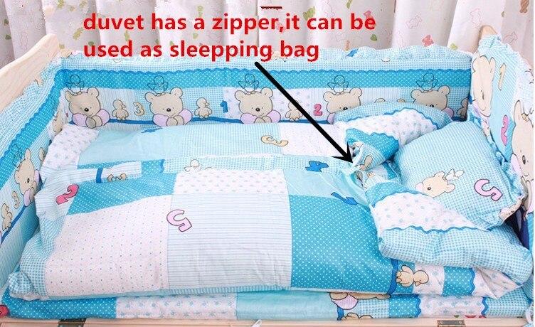 Promotion! 6PCS Baby Nursery Crib Kit Bedding Set Cot Set (3bumper+matress+pillow+duvet)
