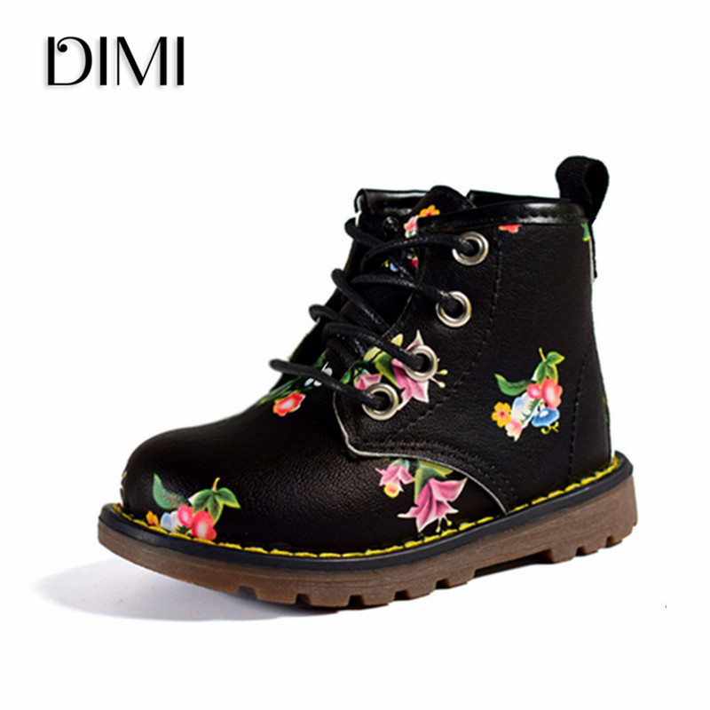 DIMI 2019 New Kids Shoes Girls Boots Floral Flower Print Baby Martin Boots Fashion Brand Children Leather Ankle Rubber Boots 005DIMI 2019 New Kids Shoes Girls Boots Floral Flower Print Baby Martin Boots Fashion Brand Children Leather Ankle Rubber Boots 005