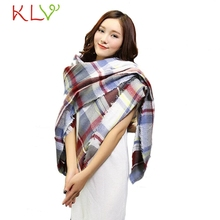 Stylish 2017 Winter Women 142 136CM warm Cashmere Scarf Wrap Shawl Plaid Cozy Checkered lady thicken