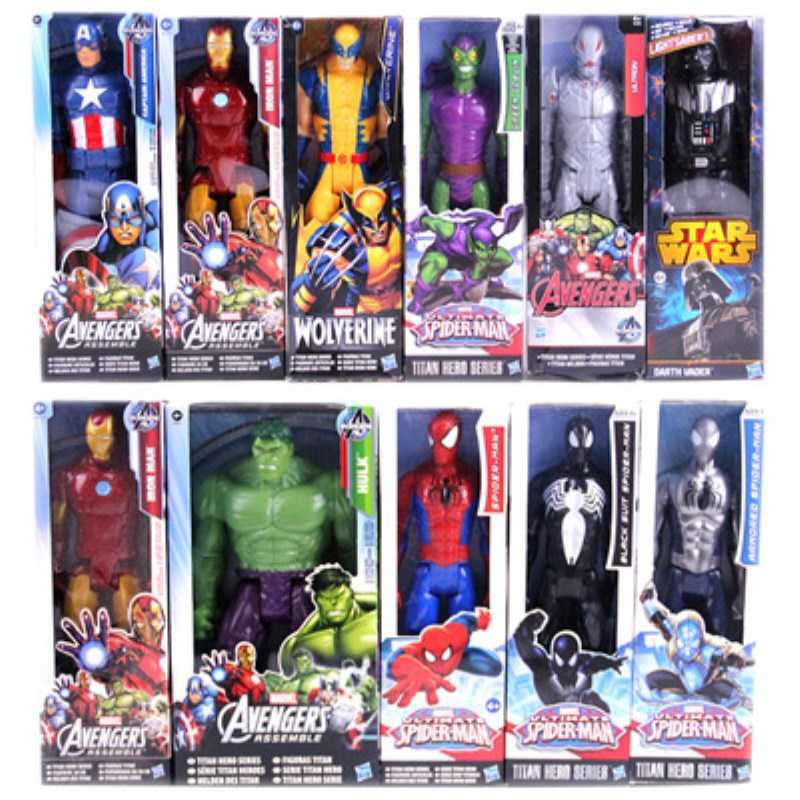 1230CM Super Hero Avengers Action Figure Toy Captain America,Iron Man,Wolverine,Spider-Man,Raytheon Model Doll Kids Gift