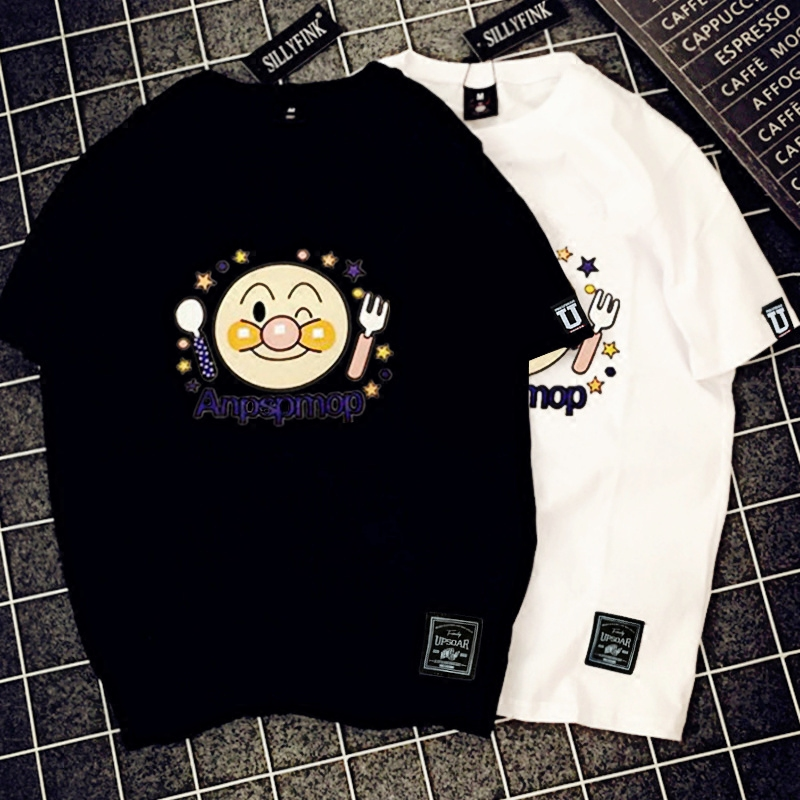 Cartoon smile face Expression printed cotton couple t shirt for lovers bff t-shirt noragami friends white top baseball tshirt