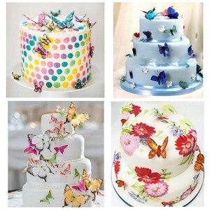 Image 1 - 42 sztuk mieszane motyl jadalne kleisty wafelek z papieru ryżowego Butterfly ciasto Cupcake wykaszarki urodziny tort weselny dekoracji
