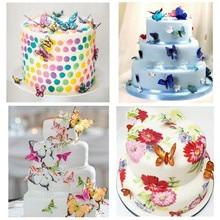Papel de arroz oblea comestible con mariposas mixtas, 42 Uds., decoración de pastel de fiesta, cumpleaños, boda