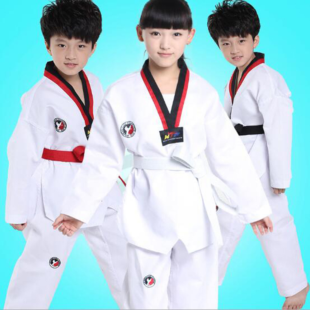 Authentic Taekwondo suits children cotton long-sleeved / short sleeve Tae Kwon Do training costume competition attire