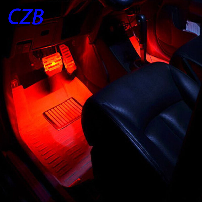 4 pcs ambiante clairage led voiture lumires dcoratives lumires colores pied intrieur atmosphre lumire pied nid needn pas carnage fastship